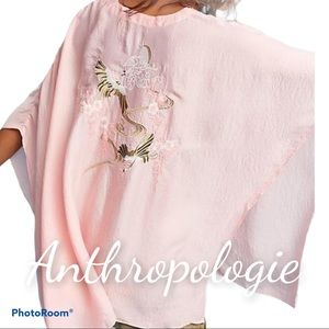 Anthropologie one size poncho coverup embroidered